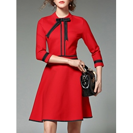 Shoespie A-Line Bow Round Neck Three-Quarter Sleeve Dress