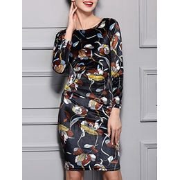 Shoespie Floral Pullover Print Round Neck Long Sleeve Bodycon Dress
