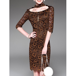Shoespie Hollow Lace Floral Half Sleeve Bodycon Dress