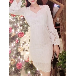 Shoespie Lace Plain Flare Sleeve Square Neck Long Sleeve Bodycon Dress