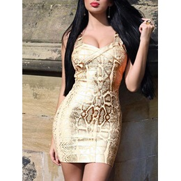 Shoespie Golden Color Snake Pattern Bodycon Dress