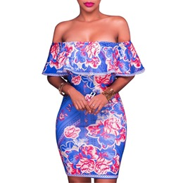 Shoespie Slash Neck Floral Above Knee Print Bodycon Dress