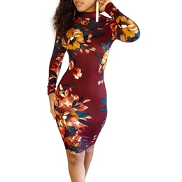 Shoespie Stand Collar Backless Floral Bodycon Dress