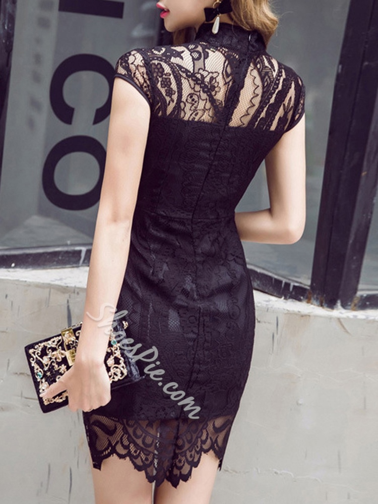 Shoespie Hollow Lace Stand Collar Short Sleeve Bodycon Dress