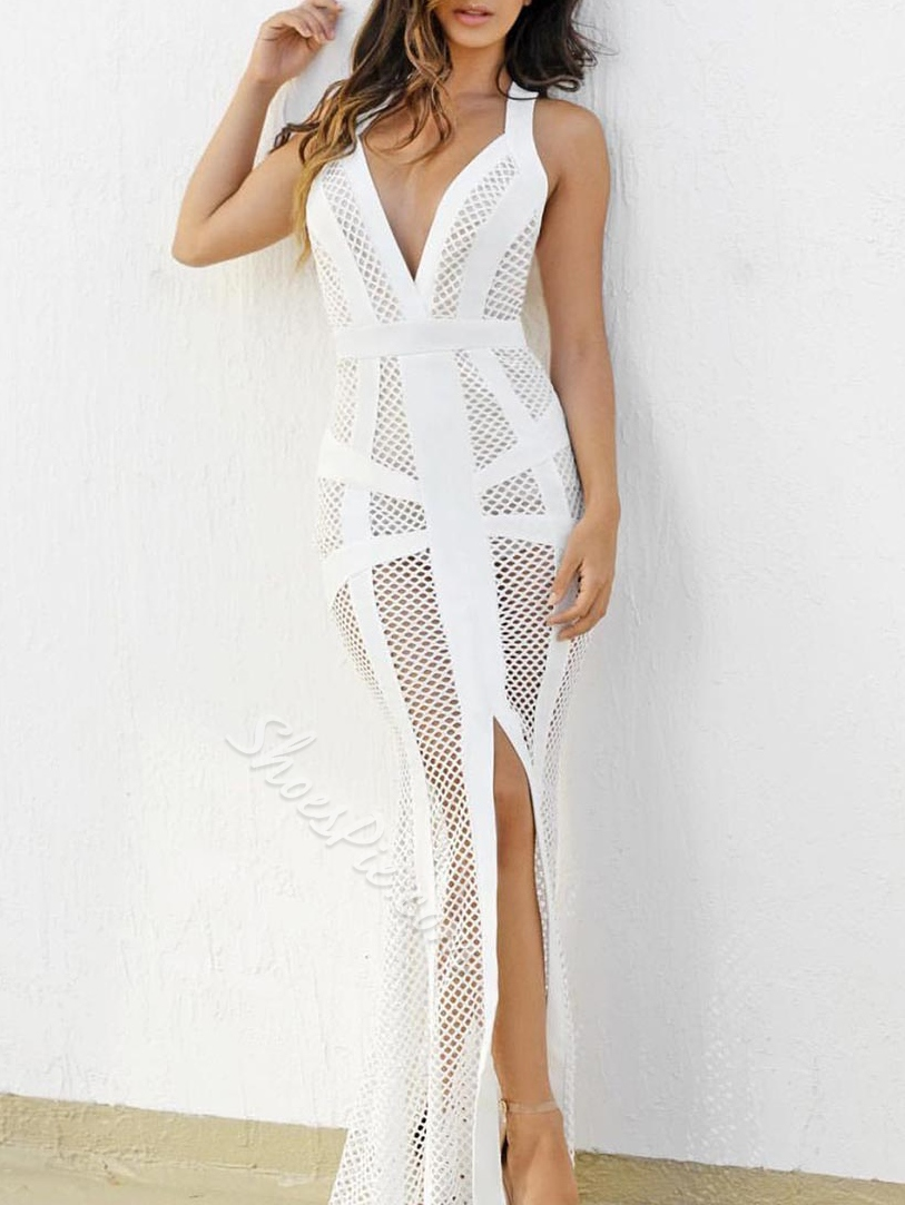 Shoespie Hollow Backless Mesh Floor-Length Bodycon Dress