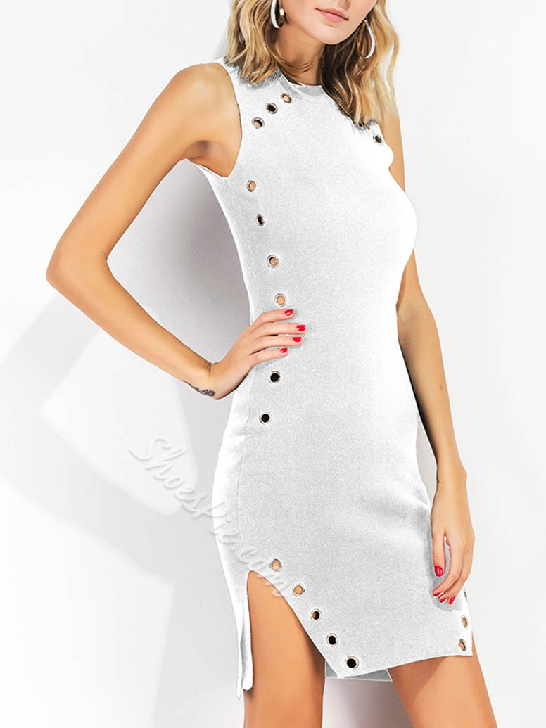 Shoespie Asymmetric Hollow Above Knee Sleeveless Bodycon Dress