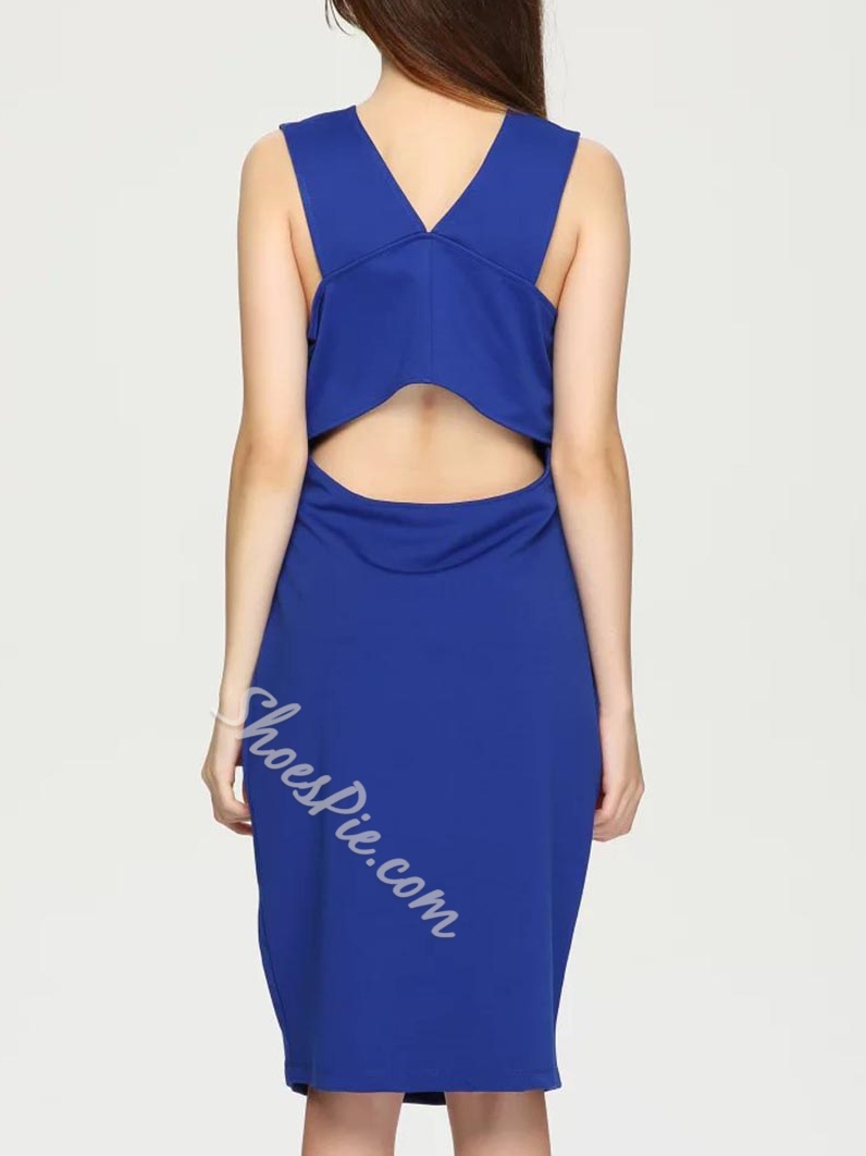 Shoespie Sleeveless V-Neck Pencil Knee-Length Bodycon Dress