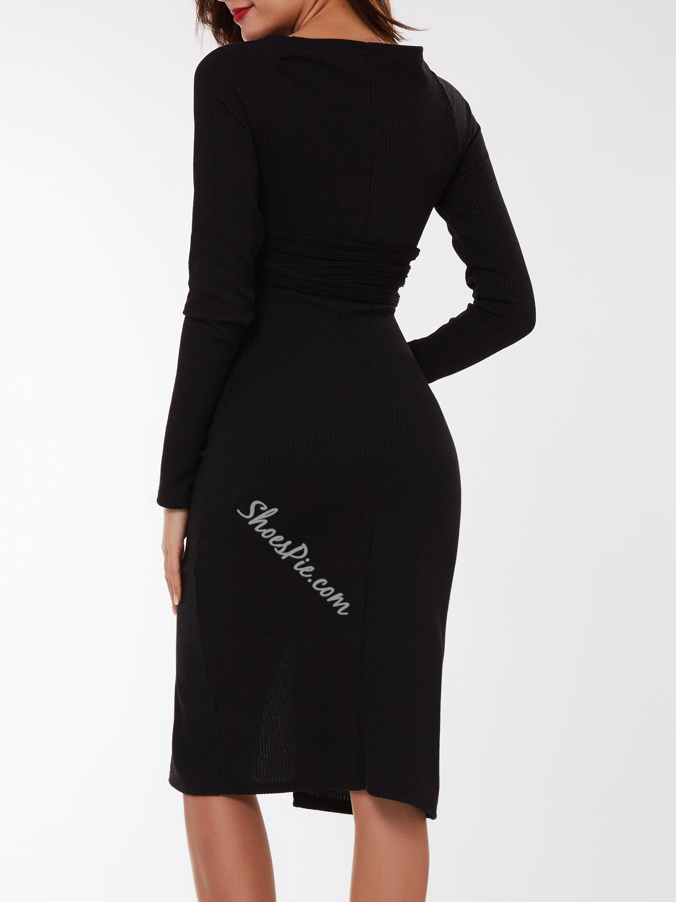 Shoespie Black Long Sleeve Sheath Bodycon Dress
