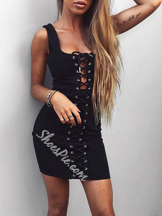 Shoespie Pullover Sleeveless Lace-Up Bodycon Dress