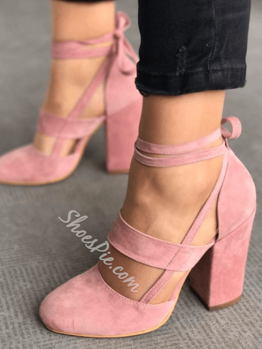 Shoespie Pink Lace-Up Round Toe Pumps