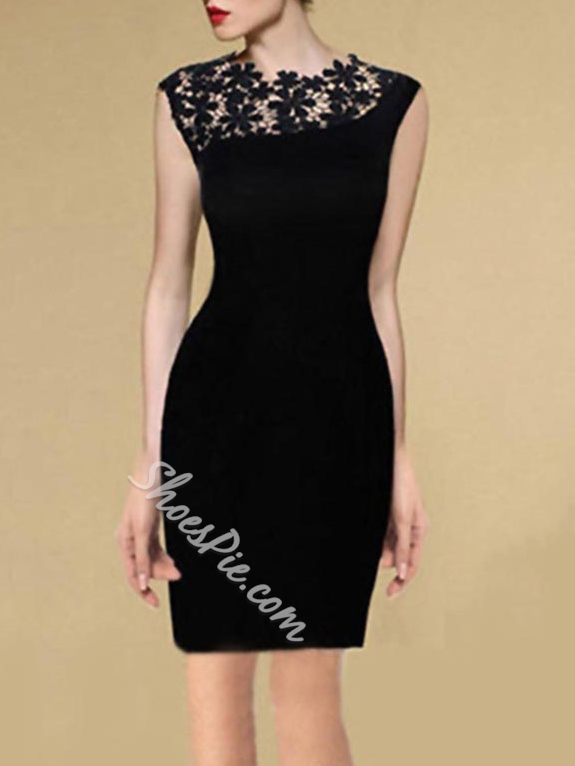 Shoespie Hollow Lace Sleeveless High-Waist Knee-Length Bodycon Dress