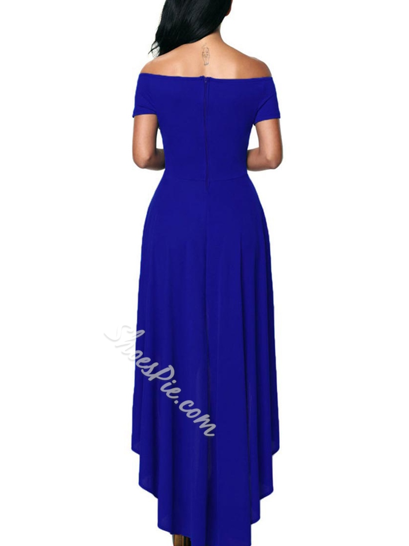 ShoespieAsymmetrical Short Sleeve Slash Neck Floor-Length Bodycon Dress