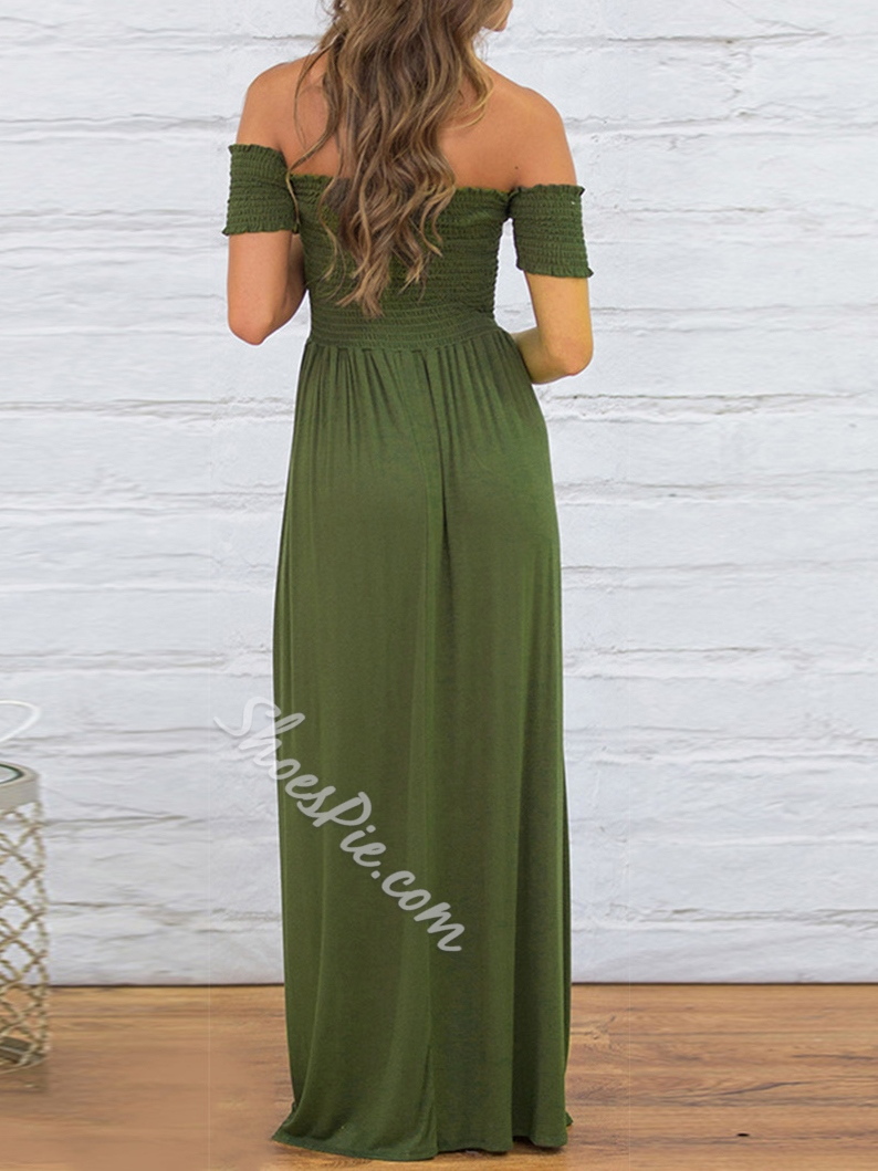 Shoespie A-Line Off-The-Shoulder Ankle-Length Bodycon Dress