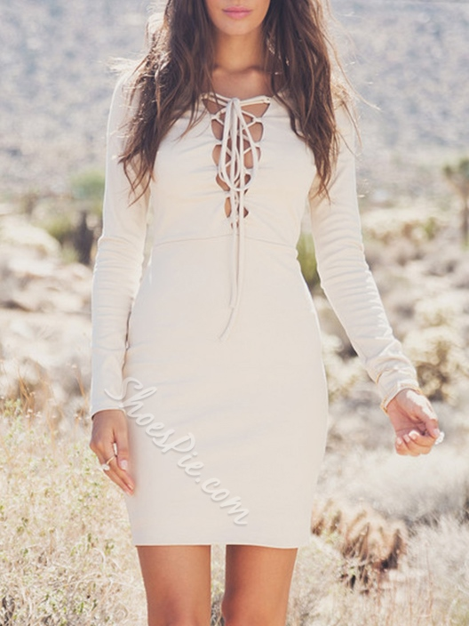 Shoespie Lace-Up Above Knee Pullover Long Sleeve Bodycon Dress