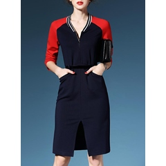 Shoespie Pocket Zipper Three-Quarter Sleeve Color Block Bodycon Dress