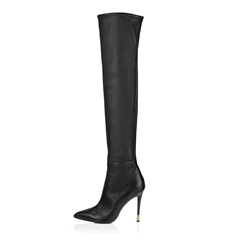 Shoespie Pointed Toe Stiletto Heel Side Zipper Knee High Boot