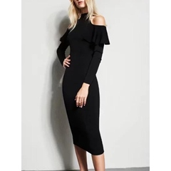 Shoespie Stand Collar Falbala Off-The-Shoulder Long Sleeve Bodycon Dress