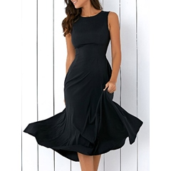 Round Neck Pocket Sleeveless Bodycon Dress