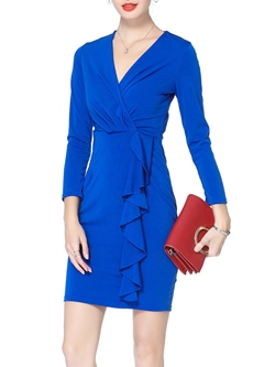 ShoespieV-Neck Falbala Nine Points Sleeve Bodycon Dress