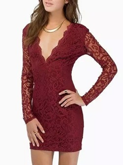 ShoespieLong Sleeve Lace Bodycon Dress