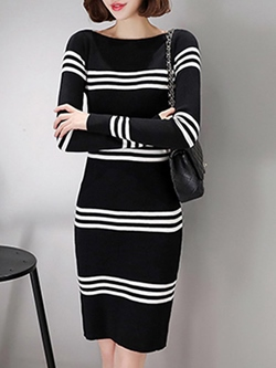 Shoespie Slash Neck Stripe Long Sleeve Bodycon Dress