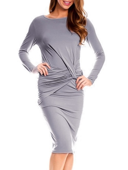 Shoespie Round Neck Long Sleeve Bodycon Dress