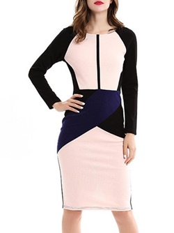 Shoespie Round Neck Color Block Long Sleeve Bodycon Dress