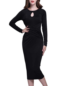 Shoespie Round Neck Pleated Long Sleeve Bodycon Dress