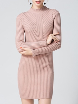 Shoespie Above Knee Stand Collar Long Sleeve Bodycon Dress