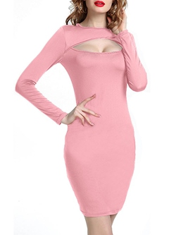 Shoespie Hollow Above Knee Long Sleeve Bodycon Dress
