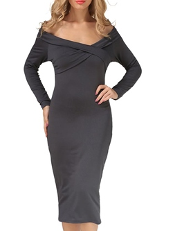 Shoespie Backless Slash Neck Long Sleeve Pullover Bodycon Dress