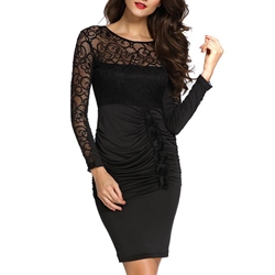 Shoespie Pleated Lace Long Sleeve Bodycon Dress