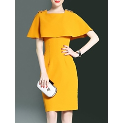 Bead Square Neck Ruffle Sleeve Bodycon Dress