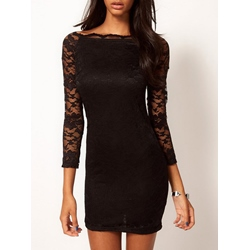 Shoespie Lace Long Sleeve Bodycon Dress