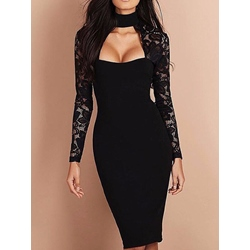 Shoespie Turtle neck Hollow Lace Long Sleeve Bodycon Dress