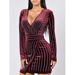 Shoespie V-Neck Bead Long Sleeve Bodycon Dress
