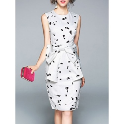 Print Bow Zipper Sleeveless Bodycon Dress