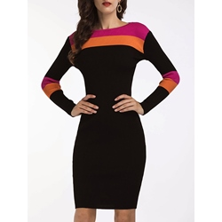 Shoespie Color Block Long Sleeve Bodycon Dress