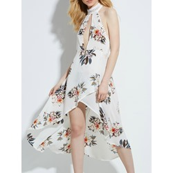 Halter Floral Print Asymmetric Women's Maxi Dress
