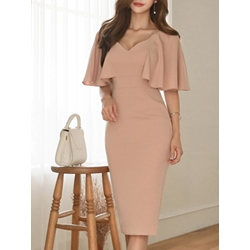 Shoespie V-Neck Short Sleeve Ruffle Sleeve Bodycon Dress