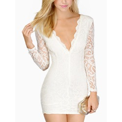 Shoespie V-Neck Lace Long Sleeve Bodycon Dress