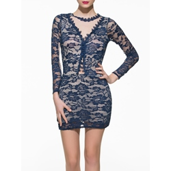 Shoespie Lace Above Knee Long Sleeve Bodycon Dress