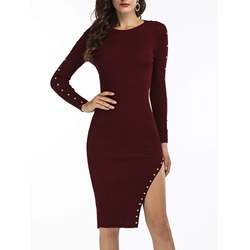 Shoespie Round Neck Long Sleeve Asymmetrical Bodycon Dress
