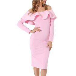 Shoespie Slash Neck Falbala Off-The-Shoulder Long Sleeve Bodycon Dress