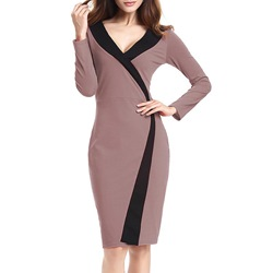 Shoespie V-Neck Color Block Bodycon Dress