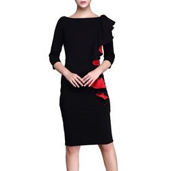 ShoespieFalbala Three-Quarter Sleeve Bodycon Dress