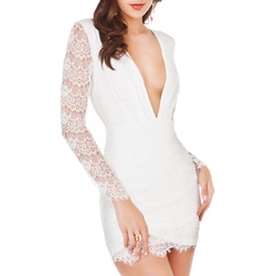 Shoespie V-Neck Hollow,Backless Lace Long Sleeve Bodycon Dress