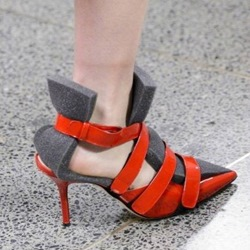 Strappy Pointed Toe Sponge Patchwork Color Block Stiletto Heel