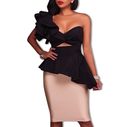Shoespie Falbala Backless One-Shoulder Sleeveless Color Block Bodycon Dress