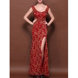 Shoespie Diamond BanquetFloor-Length Bridal Sleeveless Bodycon Dress